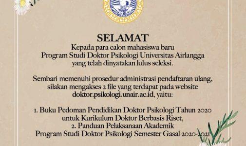 Selamat kepada calon mahasiswa doktor yang telah lulus seleksi!